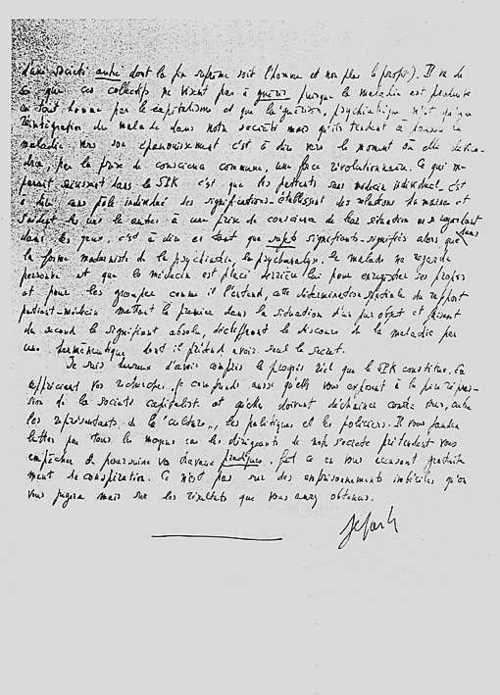 Jean-Paul Sartre letter