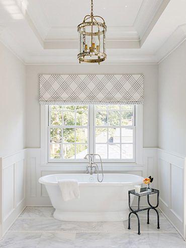 Modern Plaid Roman Shade In 2020 Bathroom Window Treatments Home Beautiful Bathrooms