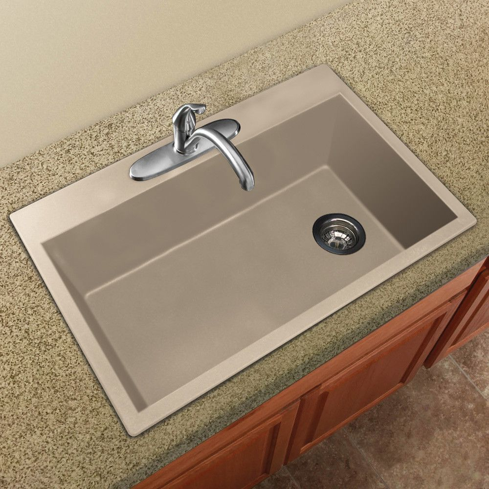 Radius 33 L X 22 W Granite Single Bowl Drop In Kitchen Sink