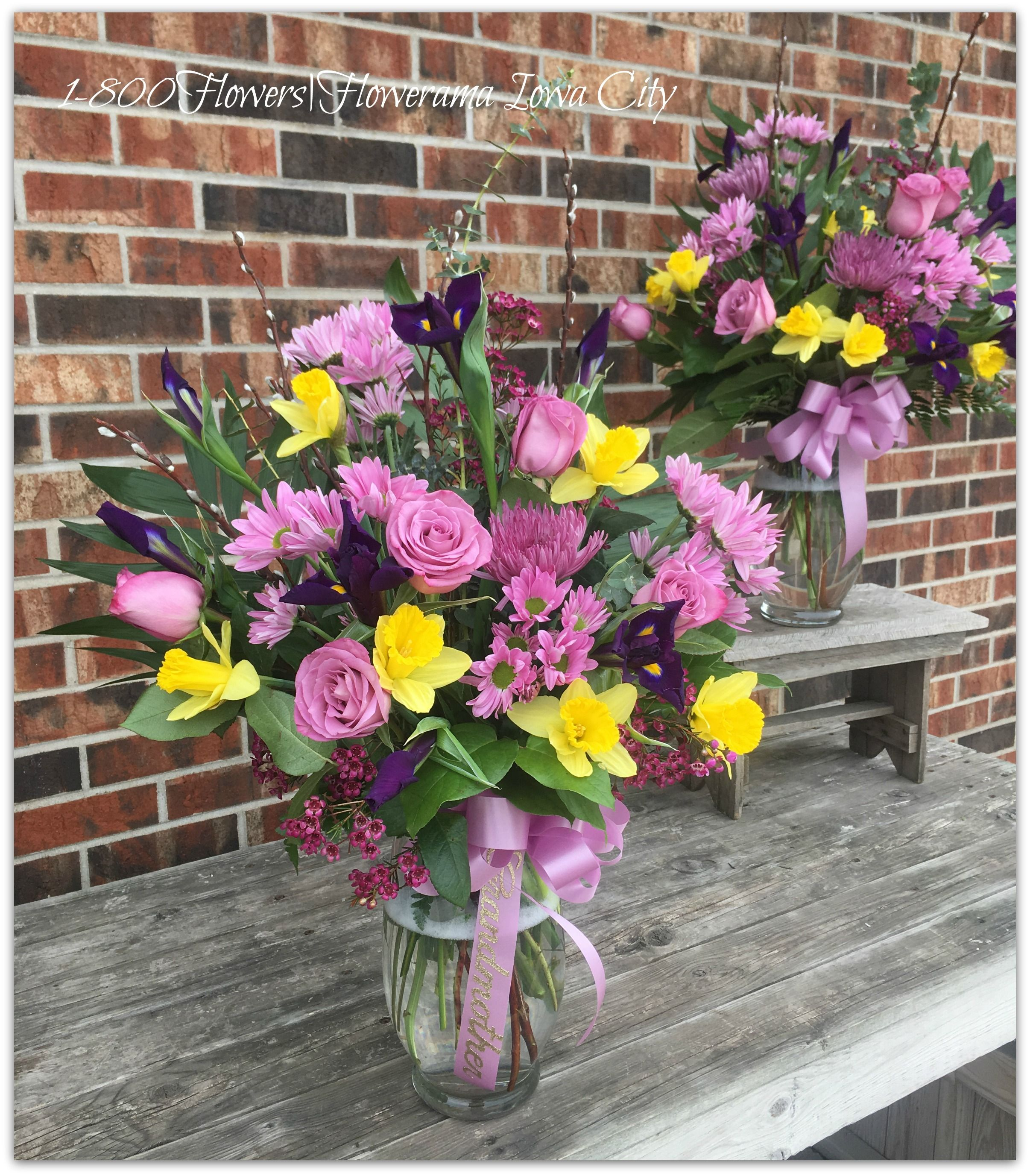 These Beautiful Welsh Theme Vases Are A Custom Spring Design Using Purple  Iris And Yellow Daffodils