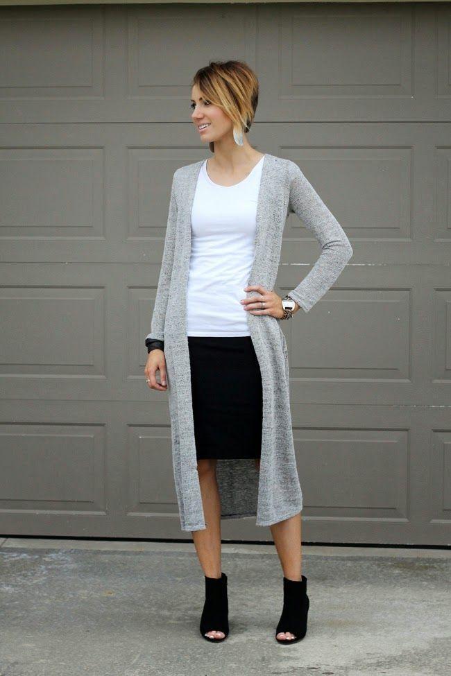 White Cardigan Black Skirt 12