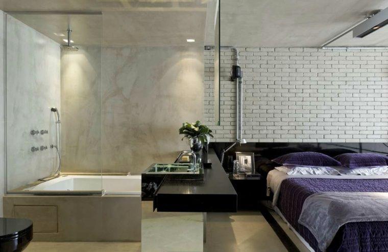 Chambre avec salle de bain : fusion d\'espaces harmonieuse | Salle ...