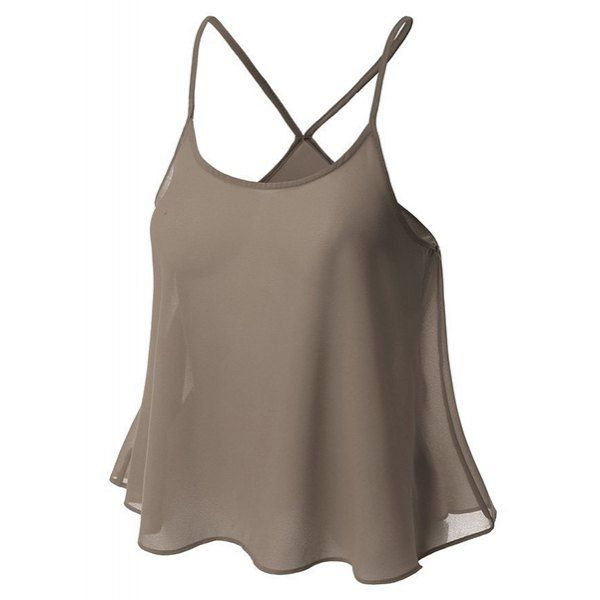 Sweet U Neck Spaghetti Strap Solid Color Camisole Women's Top — 9.59 € Size: XL Color: BRONZE-COLORED