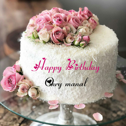 Amazing White Forest Flower Decorated Birthday Cake With Name Happy Funny Birthday Cards Online Hetedamsfinfo