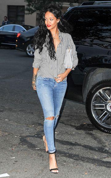 Rihanna Keeps It Casual In A Stipe Boyfriend Shirt For