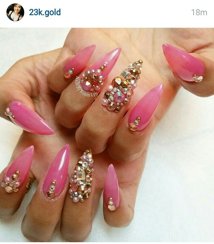 Nails By Robin Lyn Hot Pink Nails Covered In Bling Pearls Crystals Rhinestones Studs And Caviar Rhinestone Nails Nails Hot Pink Nails