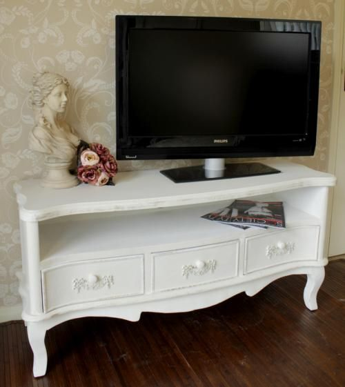 TV cabinet antique white shabby cupboard chic Television stand lounge dvd  lounge living 3 drawer - Antique White TV Cabinet - Pays Blanc Range For The Home