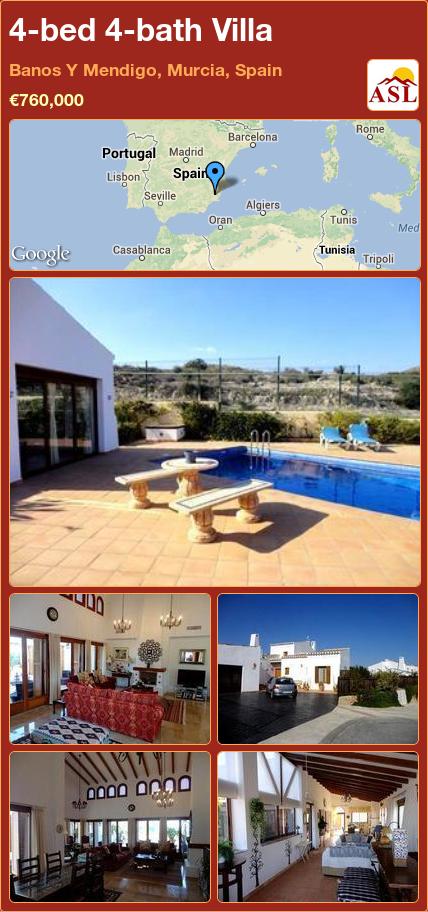 Baños Y Mendigo | 4 Bed 4 Bath Villa In Banos Y Mendigo Murcia Spain 760 000