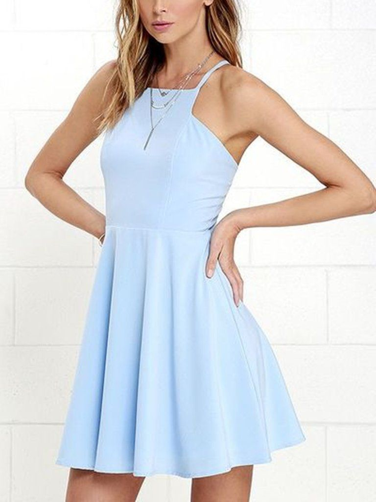 A line open back short sky blue prom dresses backless short blue
