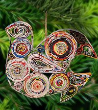 Recycled Magazine Peace Dove Ornament at The Rainforest Site