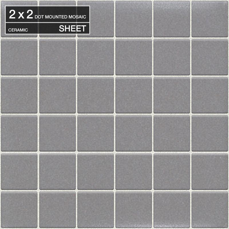 "Daltile 6553-22PMS1P2 Permatones Matte Suede Gray 2"" x 2"" Dot-Mounted Ceramic Mu Matte Suede Gray Tile Multi-Surface Tile Mosaic"