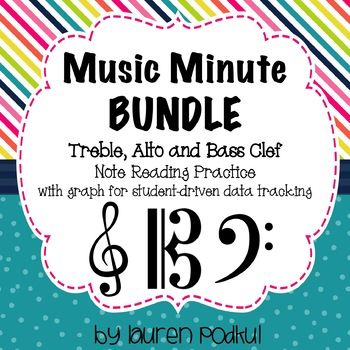 Music Minute BUNDLE - Treble, Alto, and Bass Clef Note