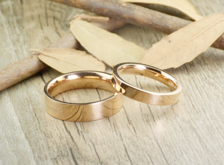 Matching Gold Wedding Rings For Bride And Groom Through Jewellery Online Nz Jewellery Design Softwa Titanium Ring Set Anniversary Ring Set Couples Ring Set