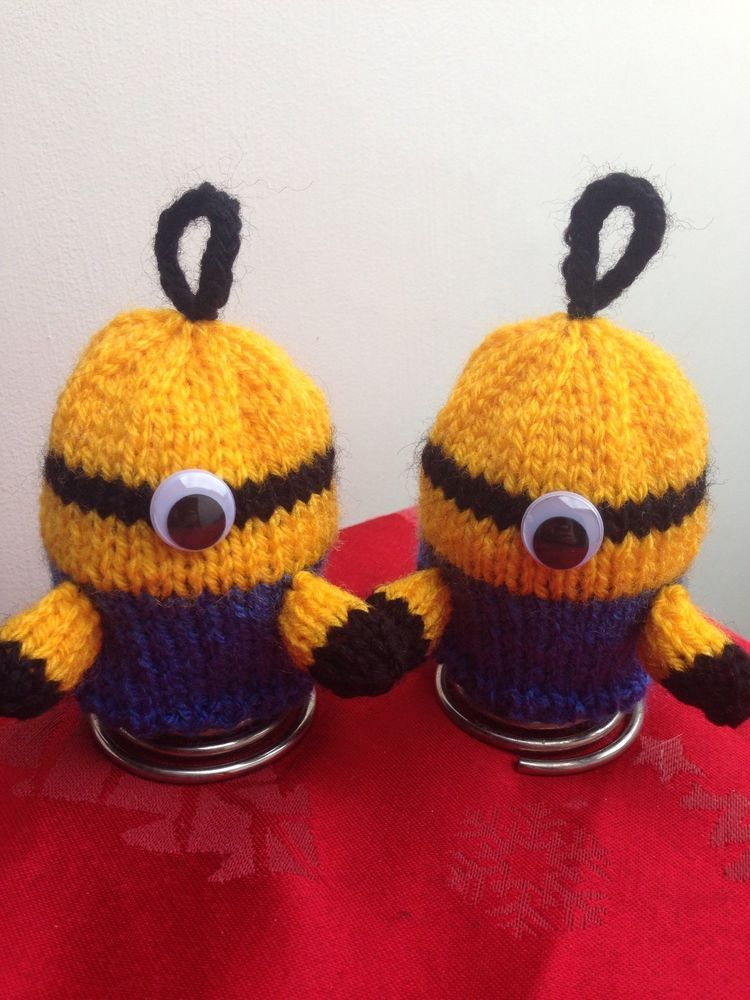 Minions Egg Cosy x2 Hand Knitted Easter Birthday Present Gift Cosies ...
