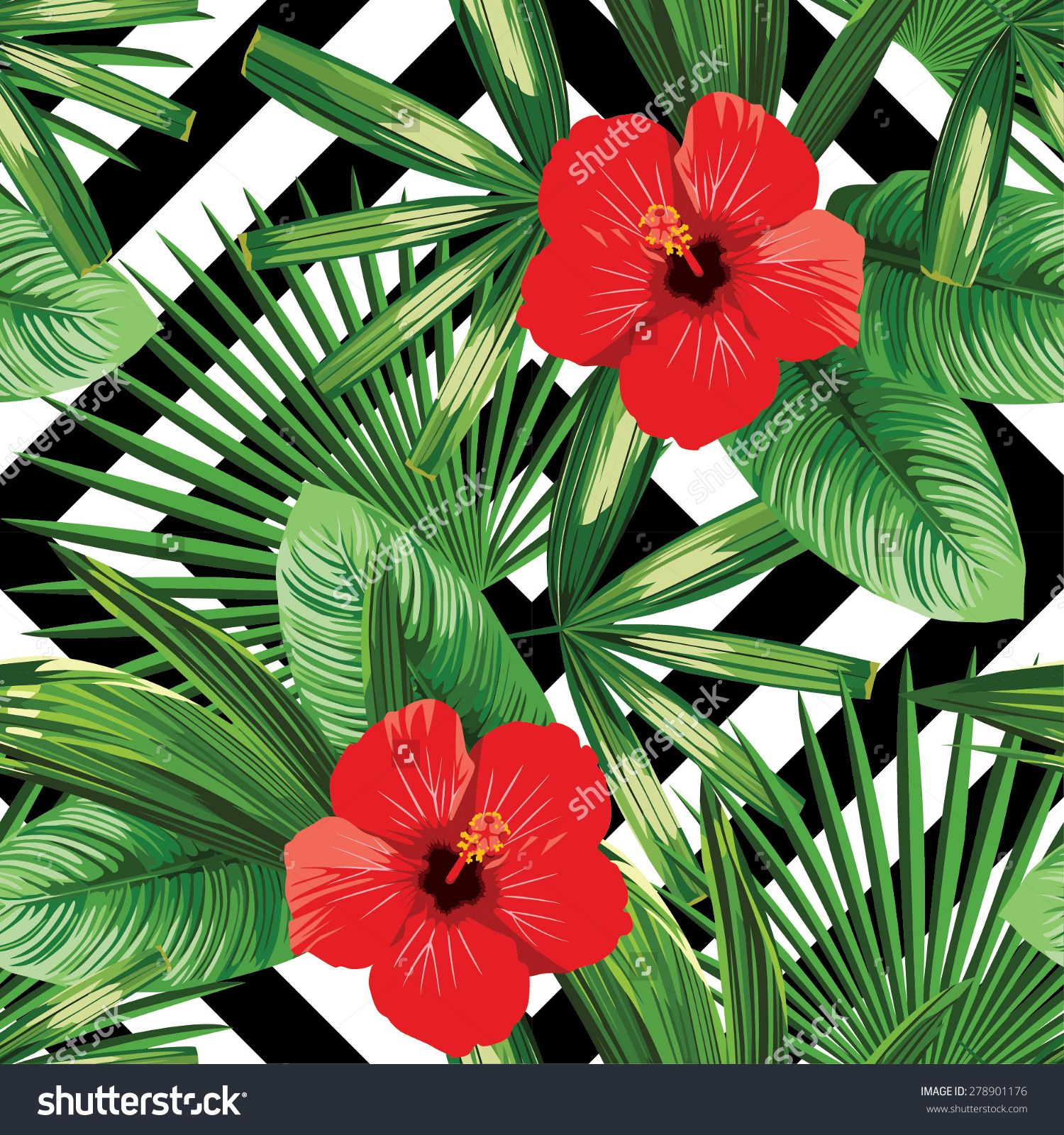 stock-vector-tropical-flowers-and-leaves-pattern-black-and-white ...