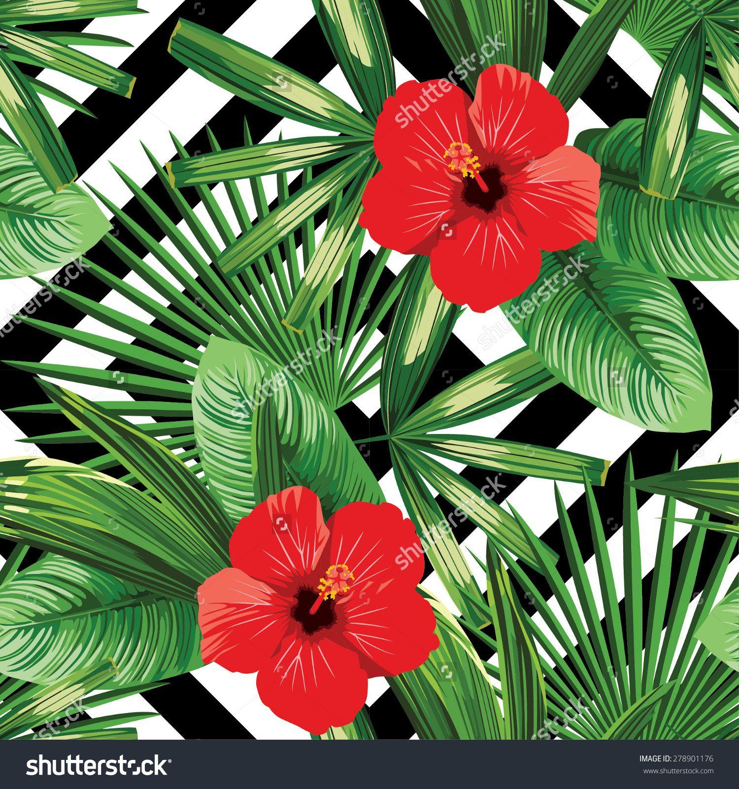 stockvectortropicalflowersandleavespatternblackand