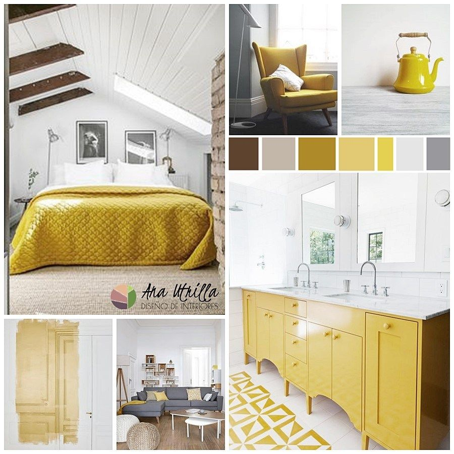 Moodboard para combinar el color amarillo con otros for Decoracion de interiores online