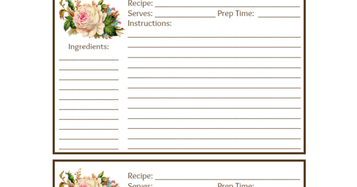 Recipe Cards 4 By 6 Cottage Rosepdf Recipe Cards Pinterest