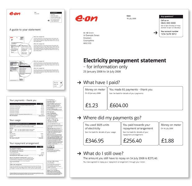 EOn Prepayment Statement Design And Bill Design  Electricity