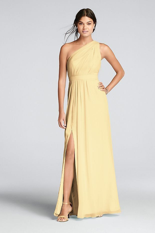 c94cca81b7bd9 Long One-Shoulder Crinkle Chiffon Yellow Bridesmaid Dress available at David s  Bridal