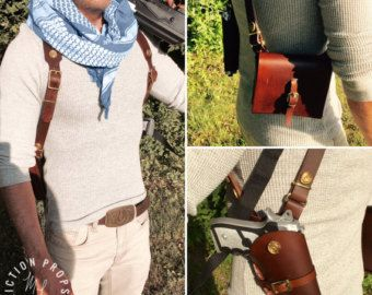 Items similar to Uncharted 3 Nathan Drake Leather Shoulder Holster on Etsy