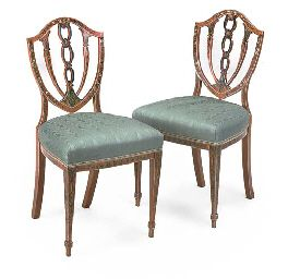 A PAIR OF DECORATED SATINWOOD DINING CHAIRS  IN THE SHERATON STYLE, LATE 19TH/EARLY 20TH CENTURYhttp://www.christies.com/