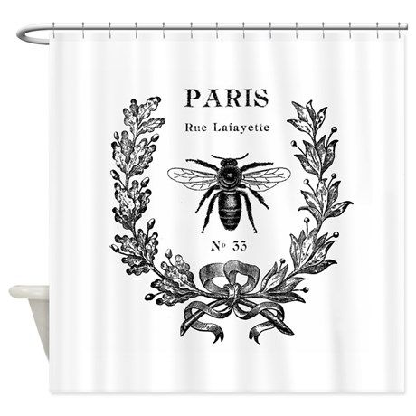 Paris Bee Shower Curtain By Venus Bee Images Bee Art Bee Tattoo