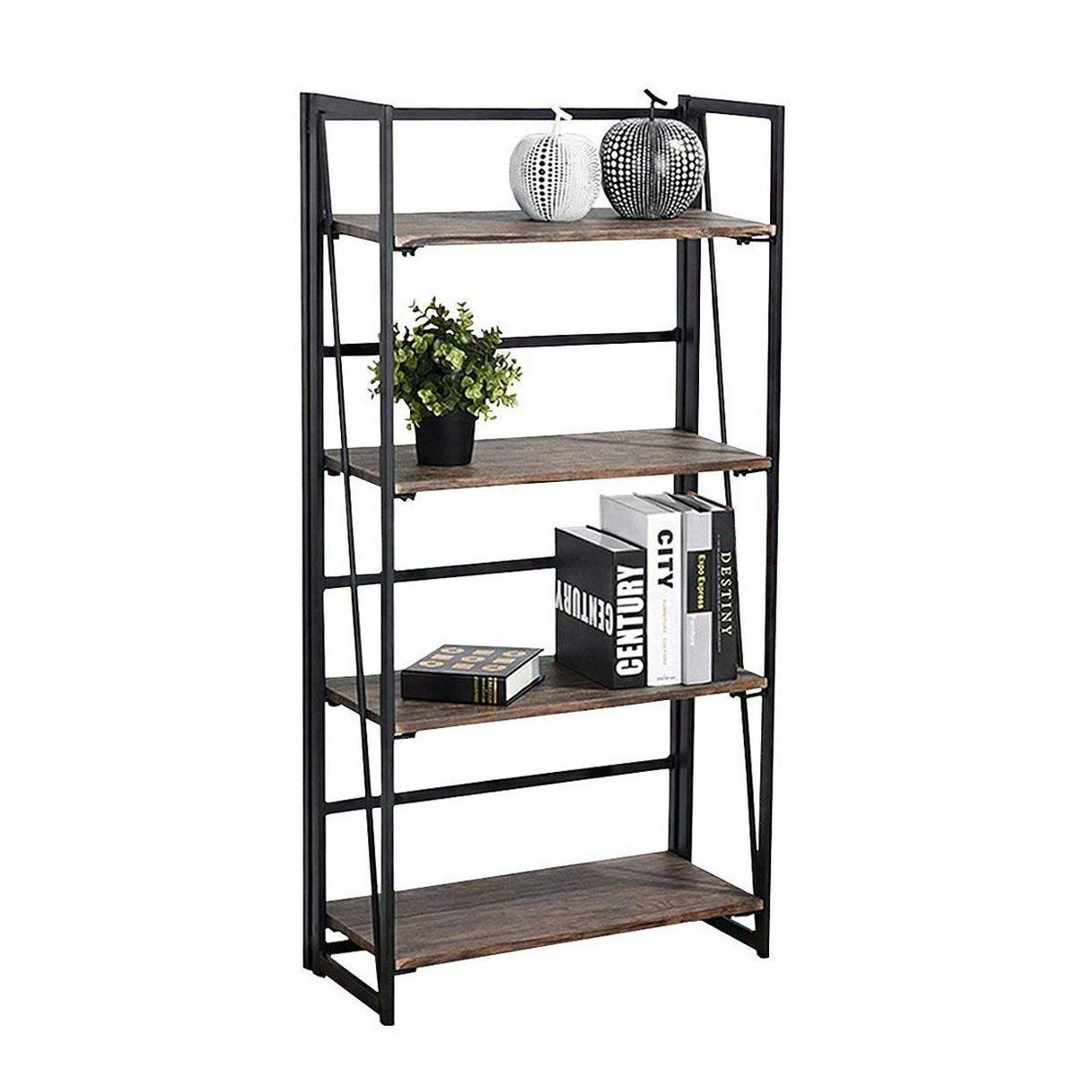 Amazon Com Coavas Folding Bookshelf Rack 4 Tiers Bookcase Home Office Shelf Storage Rack No Assembly Industrial Stand Home Office Shelves Bookcase Bookshelves