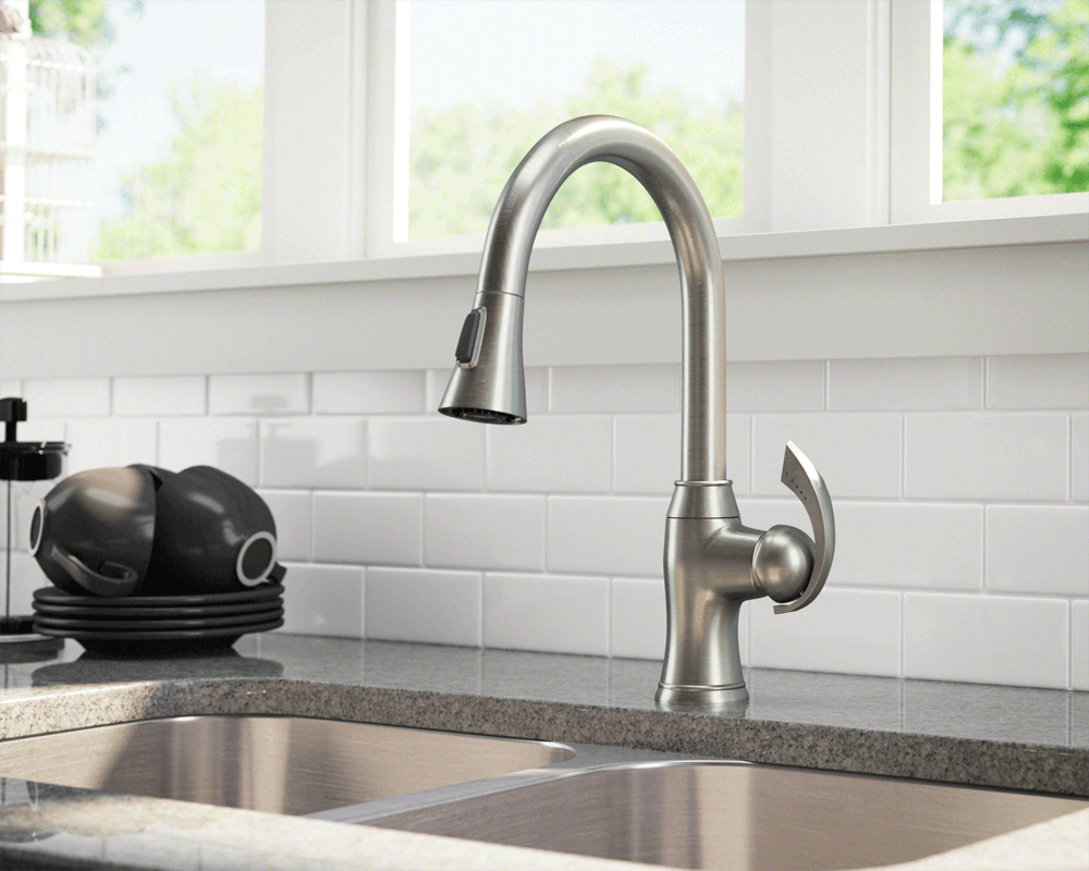 772Bn Brushed Nickel Pull Down Kitchen Faucet This Faucet Is Adorable Brushed Nickel Kitchen Faucet Review