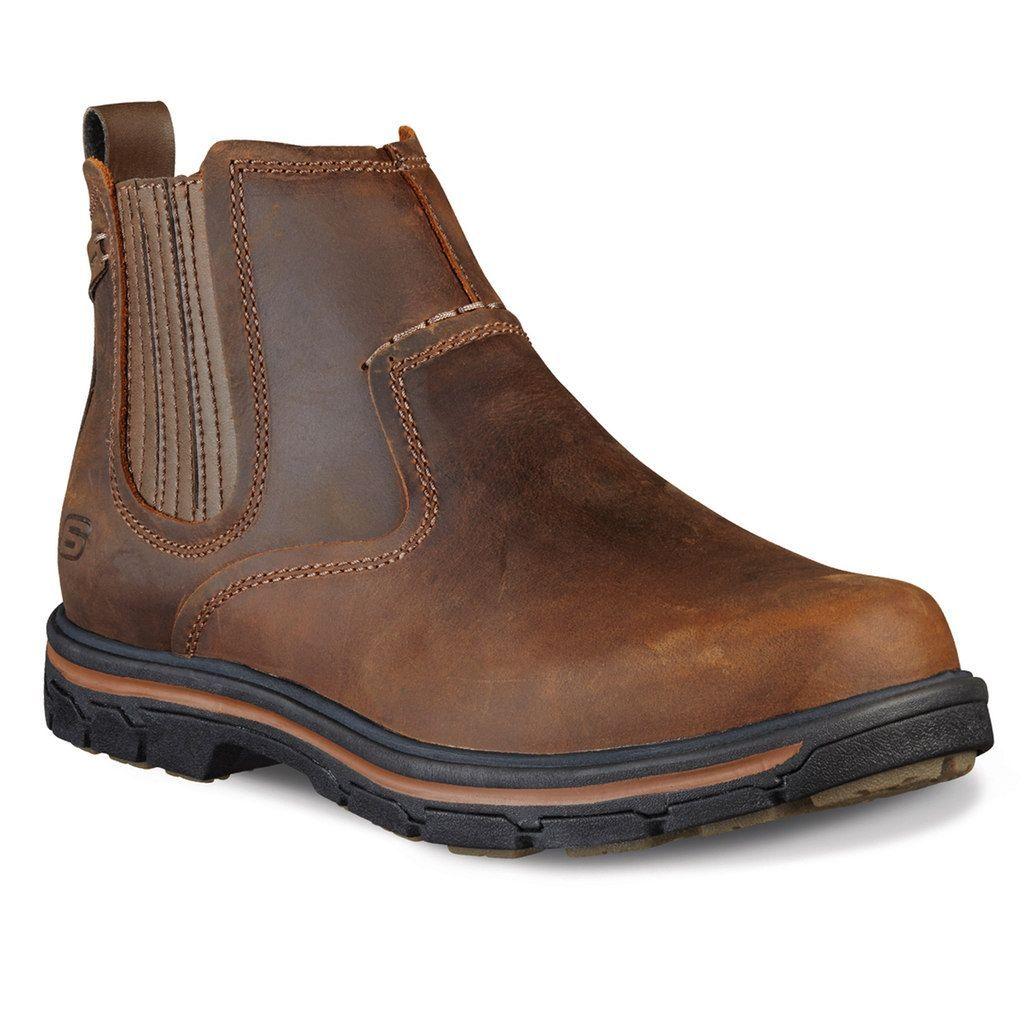 skechers mens slip on boots