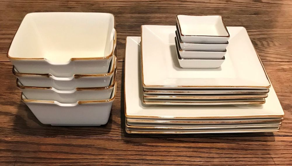 pottery barn asian square putty 16 pc