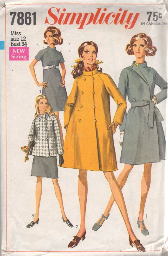 Simplicity 7861 1960s Misses COAT and Jacket Pattern Double Breasted ...