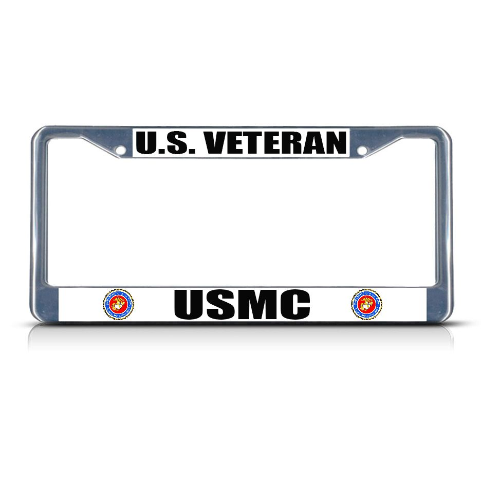 license plate frame mall us veteran usmc military metal license plate frame tag border two