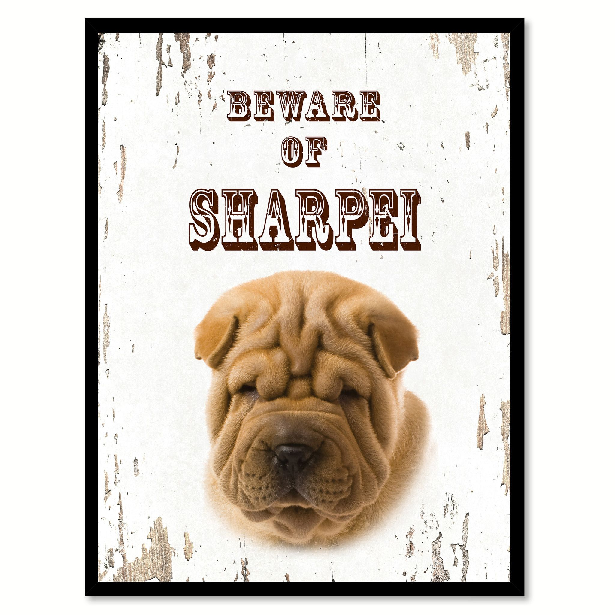 Beware of Sharpei Dog Sign Gifts Canvas Print Home Décor Picture ...