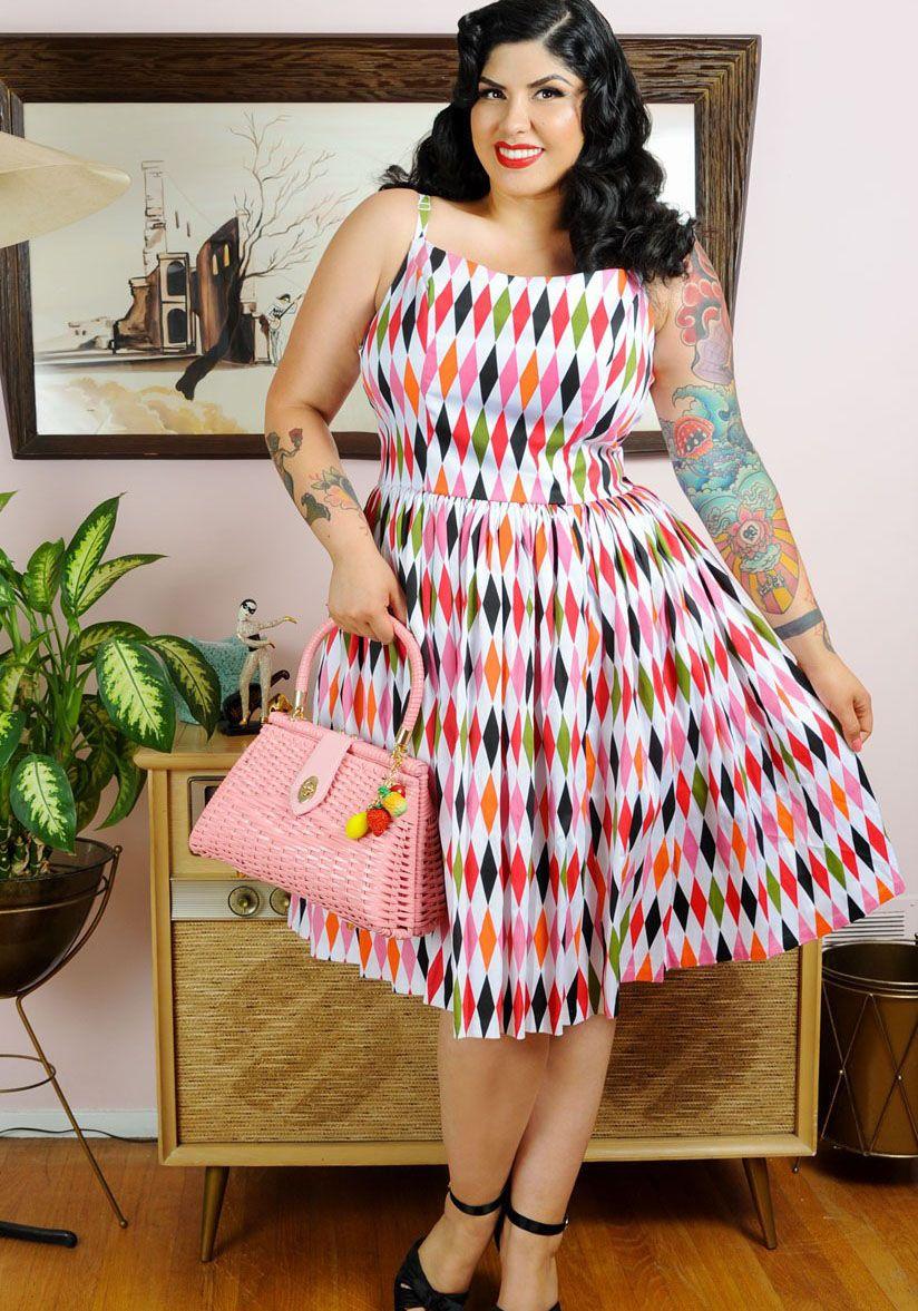 Plus size 50s vintage print dress