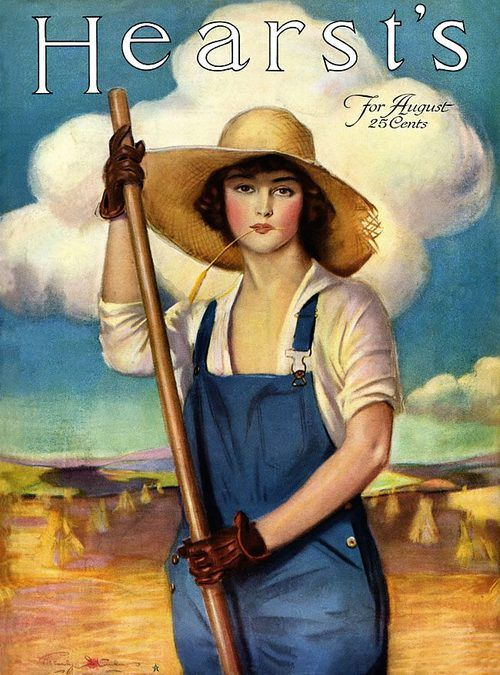 female farmer from hearst 39 s magazine cover august 1918. Black Bedroom Furniture Sets. Home Design Ideas
