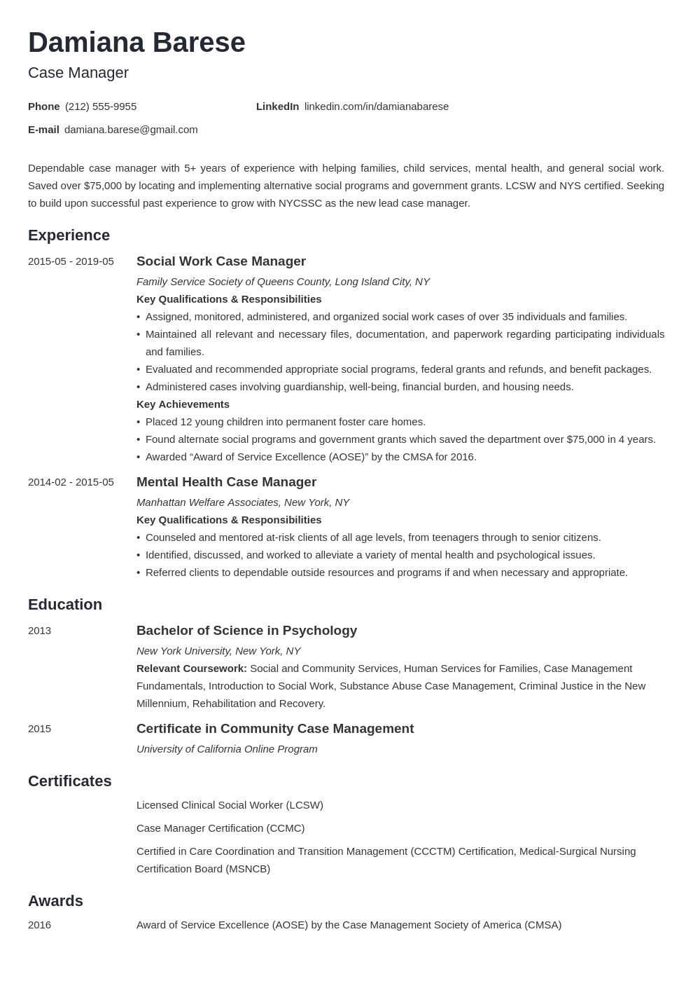 Case Manager Resume Example Template Minimo Resume Examples Job Resume Examples Case Management