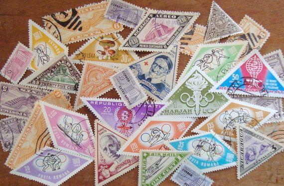 bulk lot of shaped postage stamps triangle diamond odd