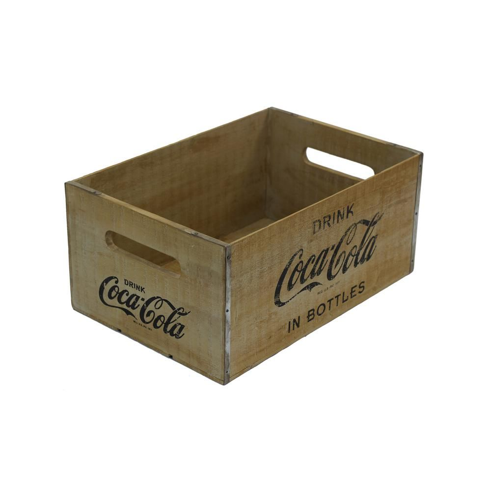 Crates and Pallet 18.25 in. x 12.375 in. x 8.5 in. Coca-Cola Large Crate in Rustic Natural-69062 - The Home Depot