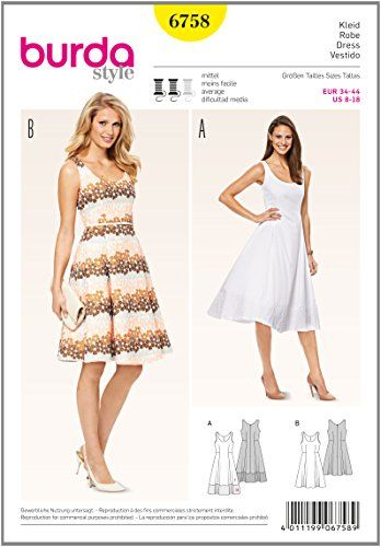 burda Schnittmuster Kleid 6758 Burda https://www.amazon.de/dp ...