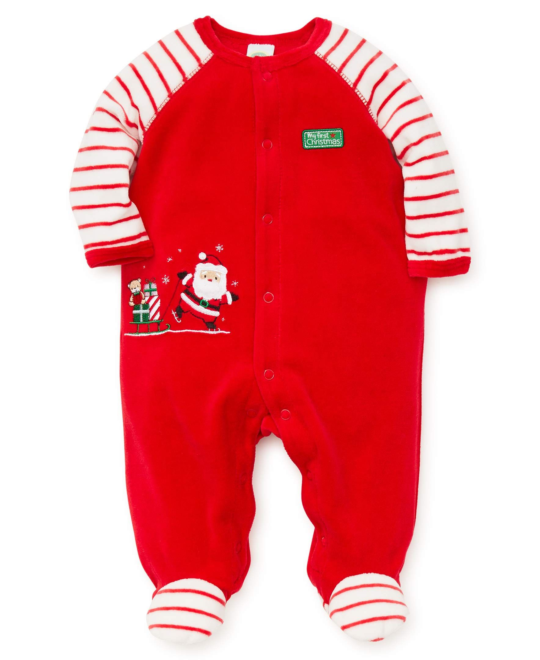 little me baby boys velour footie santa christmas red