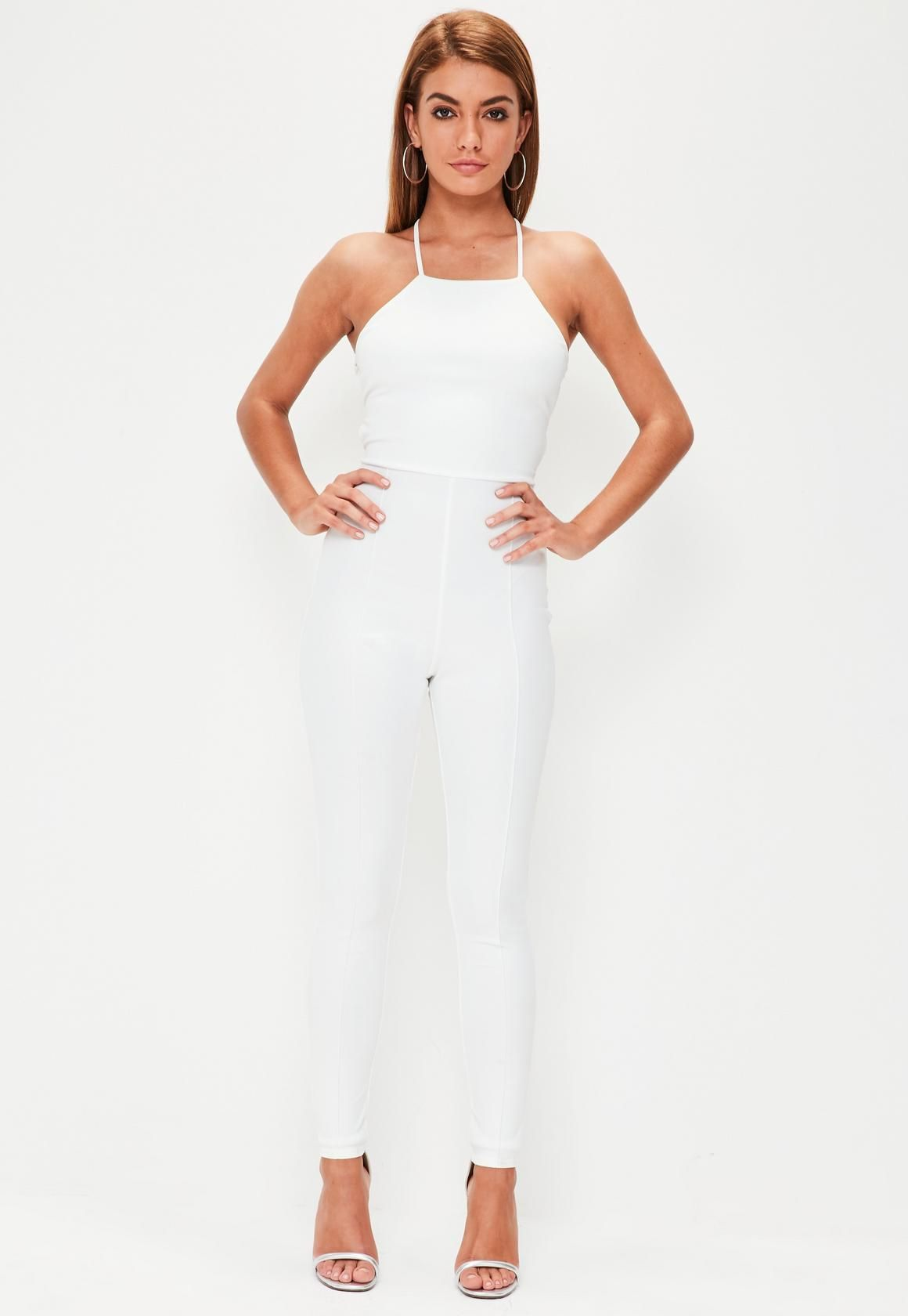28d87f1bf53 Missguided - White Crepe Strappy Back Unitard Jumpsuit