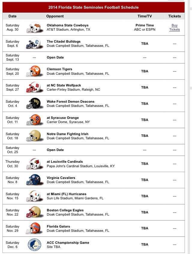 Fsu Football Schedule 2014 Florida State University