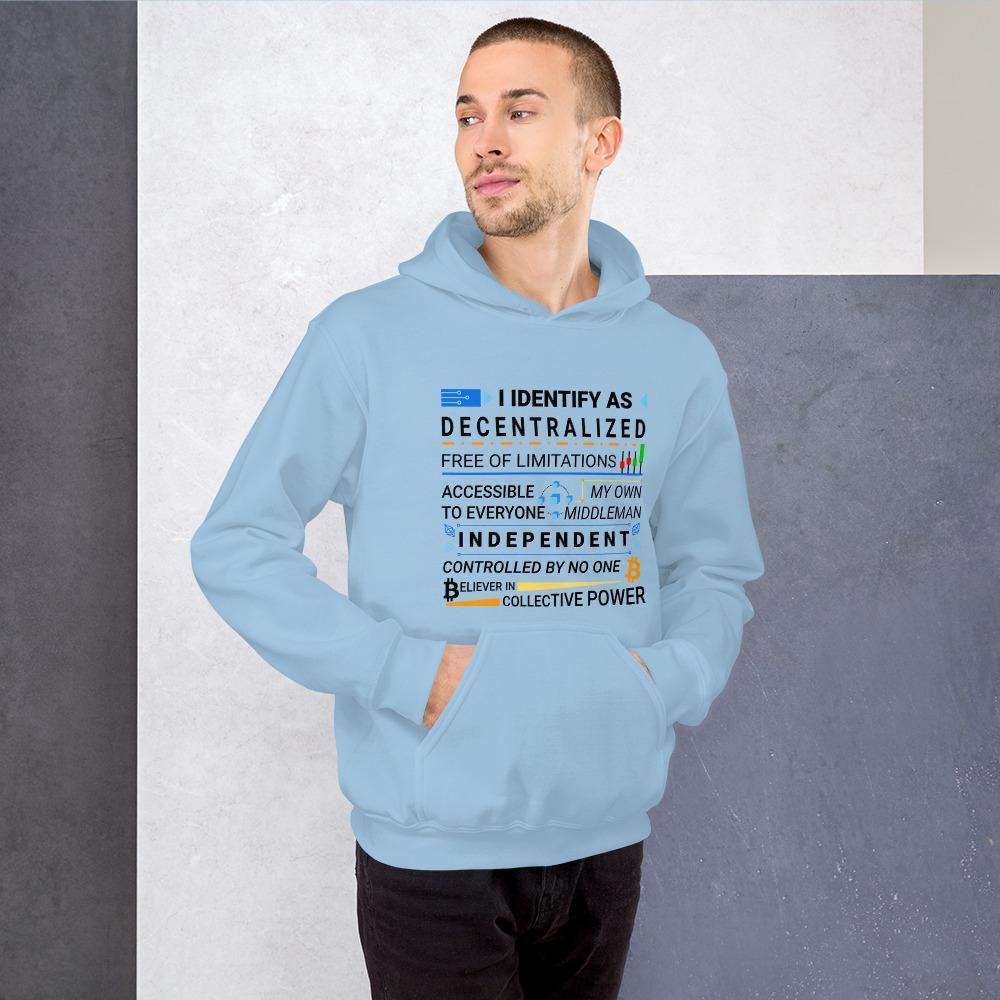 Decentralize Your Life Blockchain Hoodie For Men (Light) - Light Blue / M