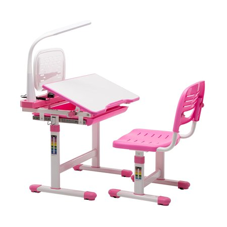 Mecor Multifunctional Children S Desk And Chair Set Adjustable Kids Work Station With Lamp Storage Bookstand Pink Walmart Com Desk And Chair Set Childrens Desk Childrens Desk And Chair