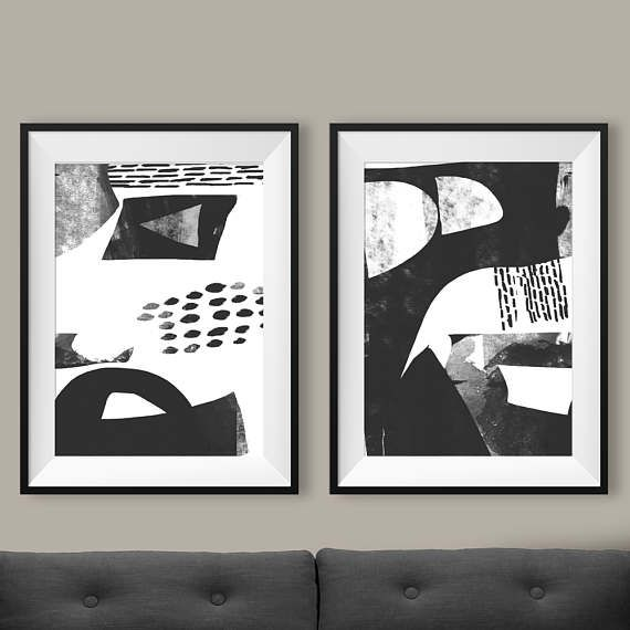 Set of 2 prints 2 black white abstract art printable abstract instant download minimal art 12x16 prints 8x10 print gallery wall art