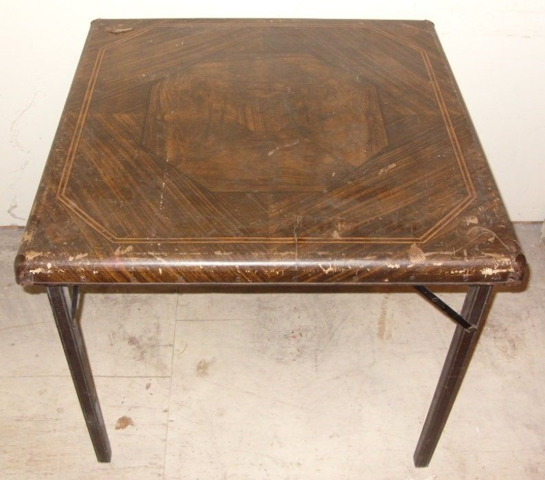 Vintage Samson Card Table With Folding Legs By Shwayder Brothers From 30s  Or40s
