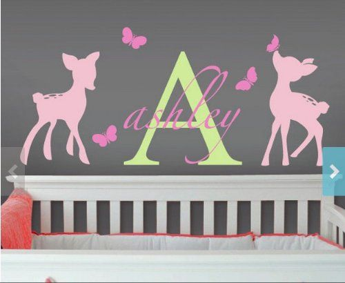 Amazoncom Vinyl Wall Decal Nursery Monogram Baby Custom Name - Custom vinyl wall decals deer