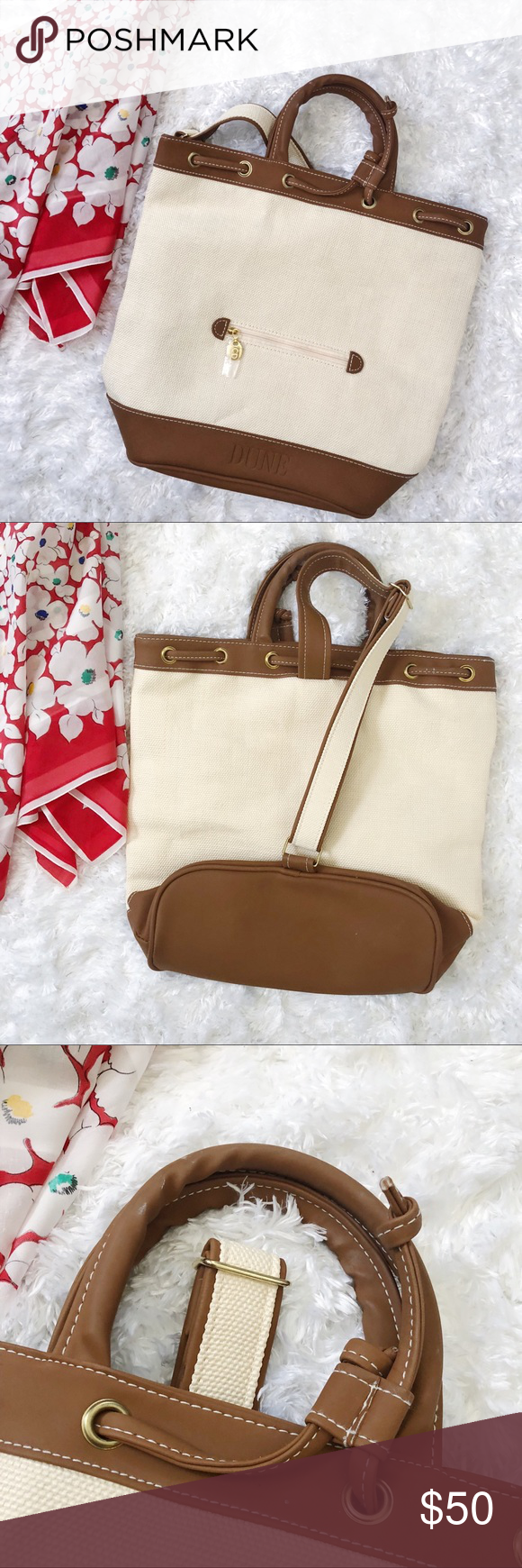 Christian Dior Parfum Dune Canvas Sac Backpack Bag Canvas and faux Cognac  leather bag with gold 47cc0cfa65