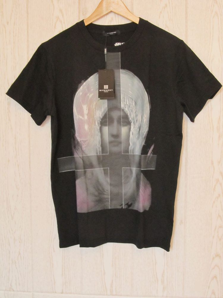 13bba015a62f39 GIVENCHY New Tee T shirt Black Size L Virgin Mary Madonna Cross  Givenchy